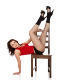 Model posing on chair Stock Photo