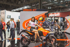 Model posing at EICMA 2014 in Milan, Italy Royalty Free Stock Images