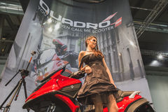 Model posing at EICMA 2014 in Milan, Italy Royalty Free Stock Photo