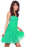 Model posing with green dress Royalty Free Stock Photography