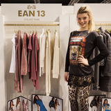 Model posing at Mipap trade show in Milan, Italy Stock Photography