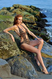 Model posing pretty at rocky beach in swimsuit. Model posing pretty at rocky beach in designers animal printed swimsuit Stock Photos