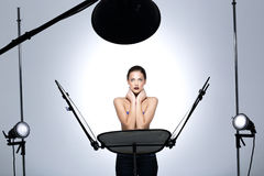Model posing in professionally equipped studio Royalty Free Stock Photography