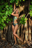 Model posing in front of tropical jungle tree Stock Photo