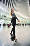 Model posing sexy at NYC subway WTS station. Royalty Free Stock Photos