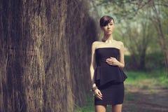 Model posing in short black dress. Brunette model posing in short black dress stock photography