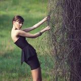 Model posing in short black dress. Brunette model posing in short black dress stock photo