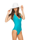 Model posing in swimsuit with hat Royalty Free Stock Photos