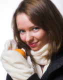 Model posing in winter clothes. Stock Image