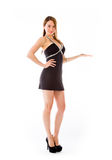Model presenting showcasing with hand Royalty Free Stock Photos