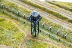 Model of prison guard tower, photograph taken from inside the prison. Model of prison guard tower, photograph taken from ine the prison stock photo