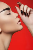 Model profile with fashion make-up & nails polish Royalty Free Stock Photography