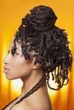 Model profile on orange background Royalty Free Stock Image