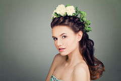 Model with Prom Hairstyle and Spring Flowers Wreath on B Royalty Free Stock Photography