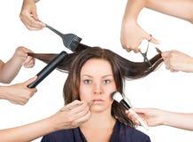 Model przygotowywający dla makijażu Obraz Stock