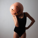 Model with pumpkin head Royalty Free Stock Image