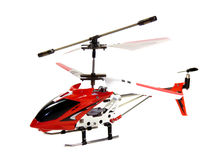 Model radio-controlled helicopter isolated. On a white background stock photos