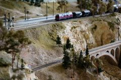 Model rail way with artificial land scape stock image