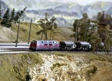 Model railroad. On the plotting board Royalty Free Stock Photo
