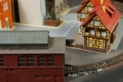 Model railroad on the miniature model scene. Model railroad on the miniature model town scenery represent the transportation and model toy train concept related stock images