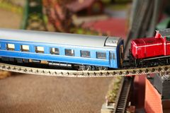 Model railroad on the miniature model scene. royalty free stock photo