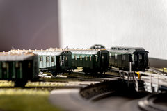 Model railroad passenger cars CSD Royalty Free Stock Images