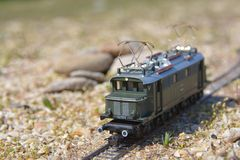 Model railroad PIKO, E44 electric locomotive Royalty Free Stock Images