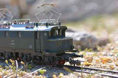 Model railroad PIKO, E44 electric locomotive Royalty Free Stock Photo