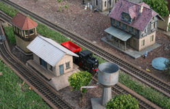 Model Railroad Scene. Train Station on a Miniature Train Layout Royalty Free Stock Photos