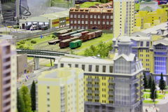 Model of railroad station. Royalty Free Stock Image