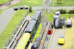 Model of railroad station. Stock Photos