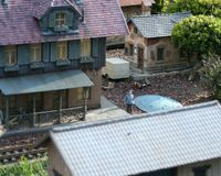 Model Railroad Station. Train Station on a Miniature Train Layout Stock Photos