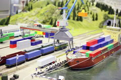Model of railroad station and sea port Stock Images