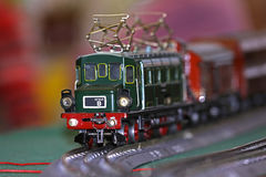 Model railway. Shot of green model railway in closeup royalty free stock images