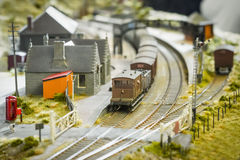 Model railway station Stock Image
