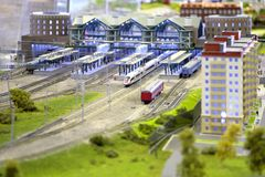 Model of railway station Royalty Free Stock Image