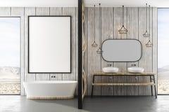 Moderne badkamers met rechthoekige badton stock afbeelding