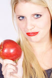 Model with red apple Stock Image