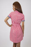 Model in red chequered summer dress Royalty Free Stock Image
