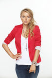 Model in a red coat Stock Photos