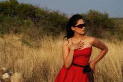 Girll in red dress Stock Image