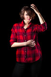 Model Red Flannel Shirt Hand on Head Stock Photography