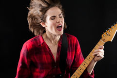 Model Red Flannel Shirt Singing & Electric Guitar Stock Photo