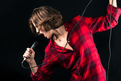Model Red Flannel Shirt Singing Royalty Free Stock Photography