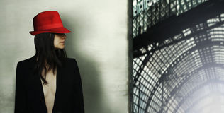 Model with red hat stock image
