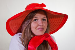 Model In Red Hat And Gloves Royalty Free Stock Photos