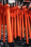 Model of Red Japanese Gates. These are models of Torii, a Japanese gate that marks the entrance to holy ground. This also forms a distinctive red pattern royalty free stock photo