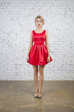 Model in red party dress Royalty Free Stock Images