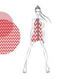 Model red pattern. Vector fashion model. Vector sketch silhouette. Vector vintage lady. Dress pencil sketch. Vector fashion outline. Vector style lady. Vector Vector Illustration