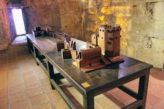 A model of the Red Tower and the site of the fortress wall to the shipyard in Alanya Castle Alanya, Turkey Stock Image